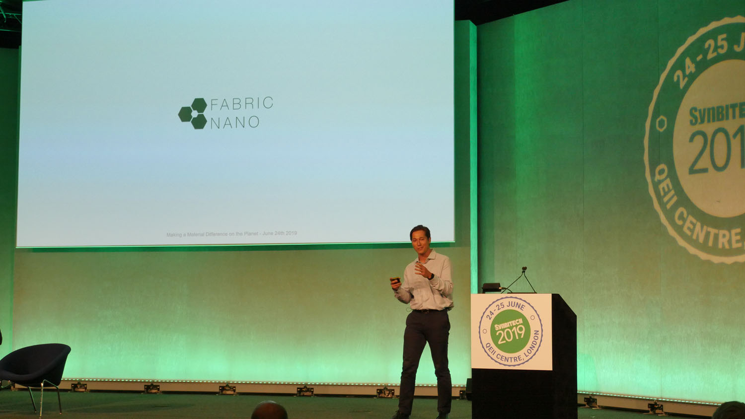 Grant Aarons, CEO & Co-founder, FabricNano shares his company's story at SynbiTECH 2019