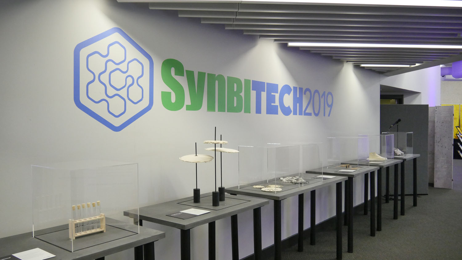 'Biodesign Here Now' exhibition at SynbiTECH 2019, showcasing 17 selected projects to illustrate what the field of Biodesign will be able to contribute - from sustainable pollination to grown fashion to personal diagnostics.